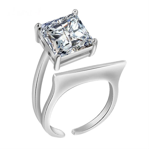 Unique AAA CZ Engagement Ring in Platinum