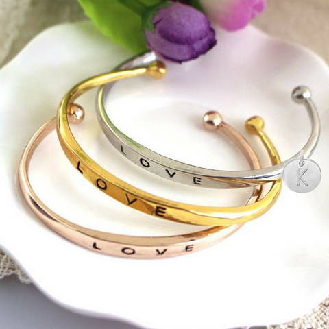 Bridesmaid Personalized Initial LOVE Bracelet