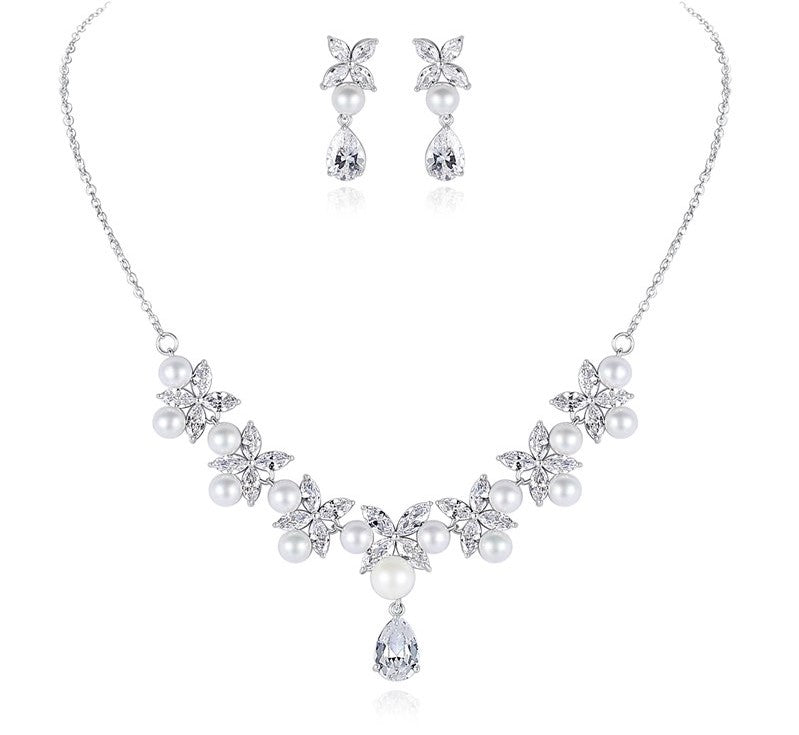 AAA Cubic Zirconia and Pearls Floral Necklace and Earrings Bridal set