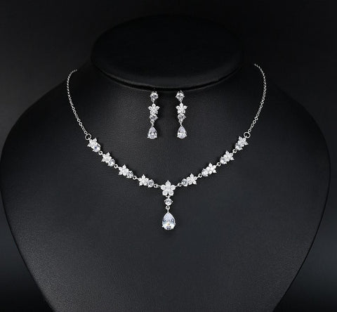AAA Cubic Zirconia Floral Necklace and Earrings Bridal set