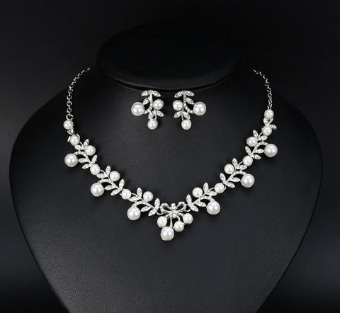 Bridal Rhinestone and Pearl Earrings and Necklace Set