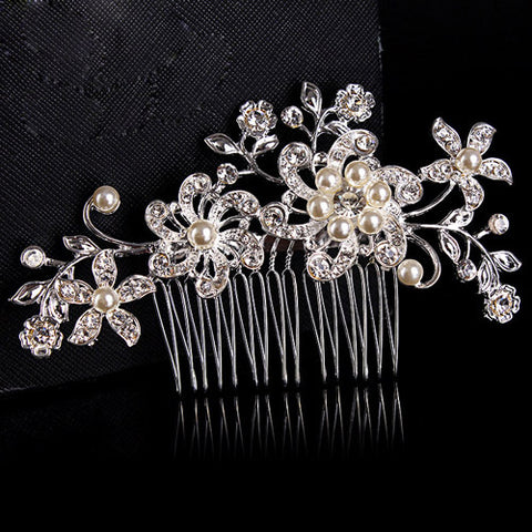 Bridal Floral Pearl and Rhinestone Hair Comb