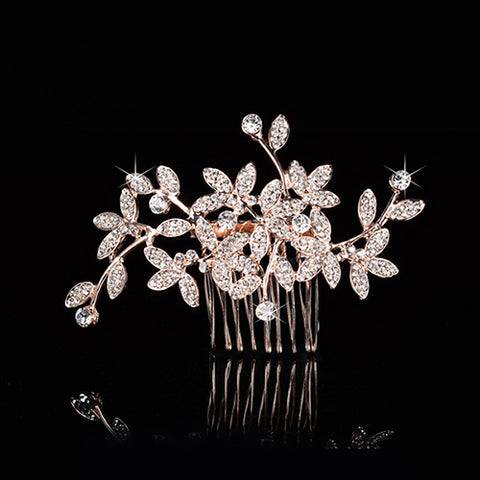 Rose Gold Bridal Rhinestone Hair comb