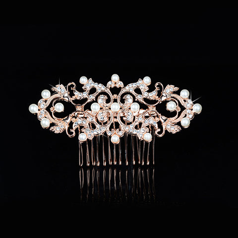 Rose Gold Bridal Rhinestone and Pearl Hair comb