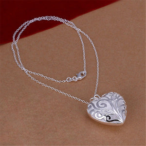 KELLY - Silver Filigree Heart Personalized Initial Bridesmaid Pendant Necklace