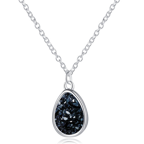 ADELE - Druzy Silver Drop Pendant Necklace
