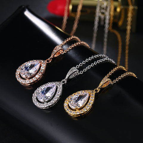 JESS - Gold AAA CZ Bridal Pendant Necklace