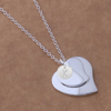 KELLY - Silver Double Heart Personalized Initial Bridesmaid Pendant Necklace