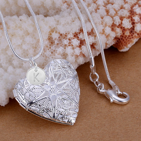 KELLY - Silver Filigree Heart Personalized Initial Bridesmaid LOCKET Necklace