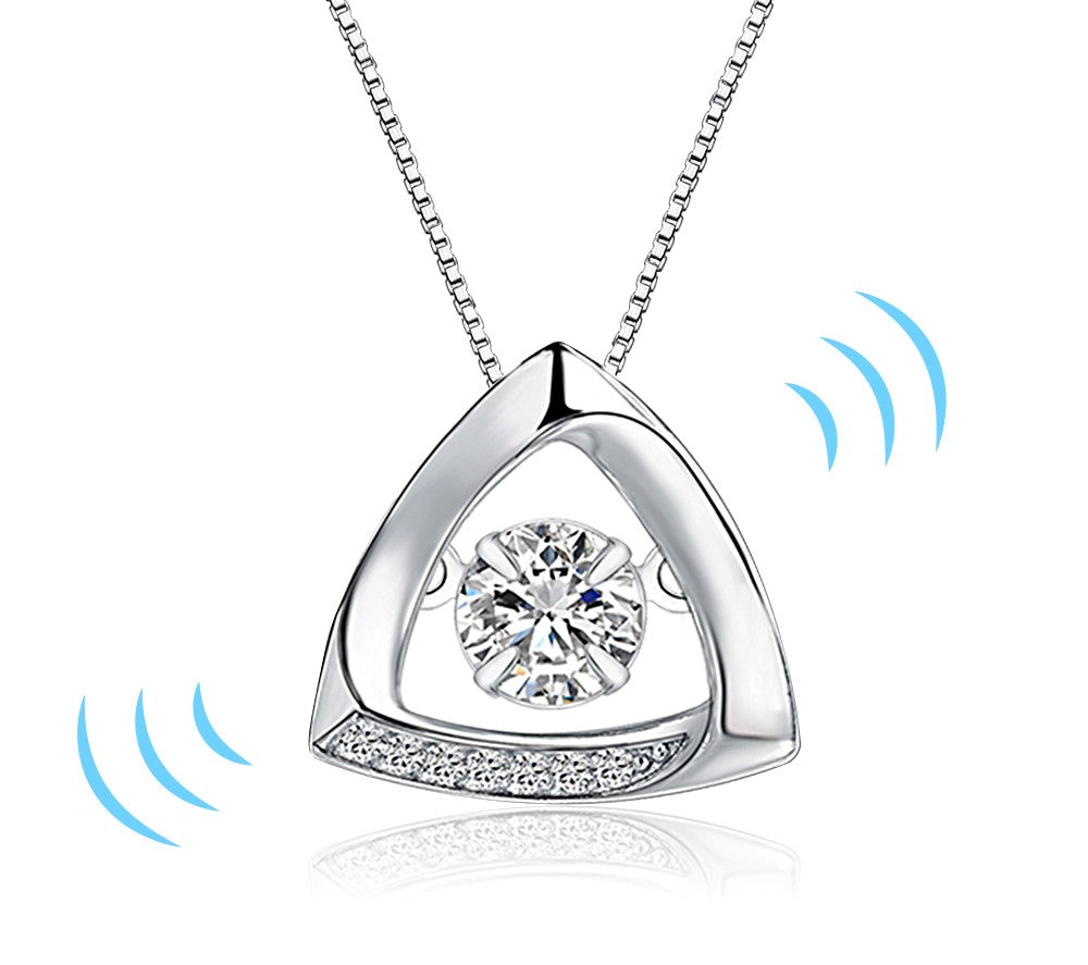 AUBRY - Floating Cubic Zirconia Sterling Silver Triangle Pendant Necklace