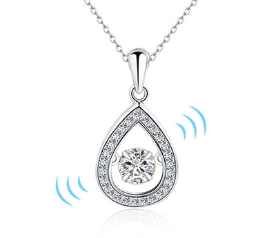 AUBRY - Floating Cubic Zirconia Sterling Silver Water Drop Pendant Necklace