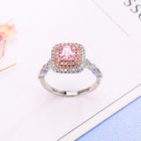 Pink AAA CZ Engagement Ring in Platinum