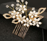 Yellow Gold Bridal Rhinestone and Pearl Flower Hair comb