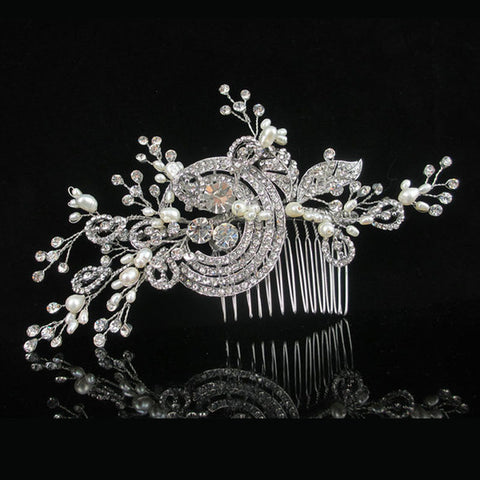 Bridal Freshwater Pearl and Rhinestone Hair Comb