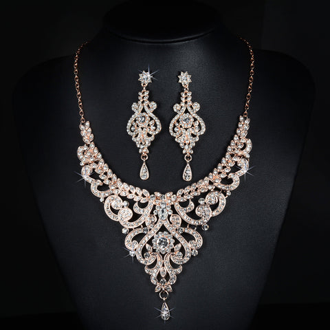 Rose Gold Rhinestone Earrings and Necklace Bridal Set