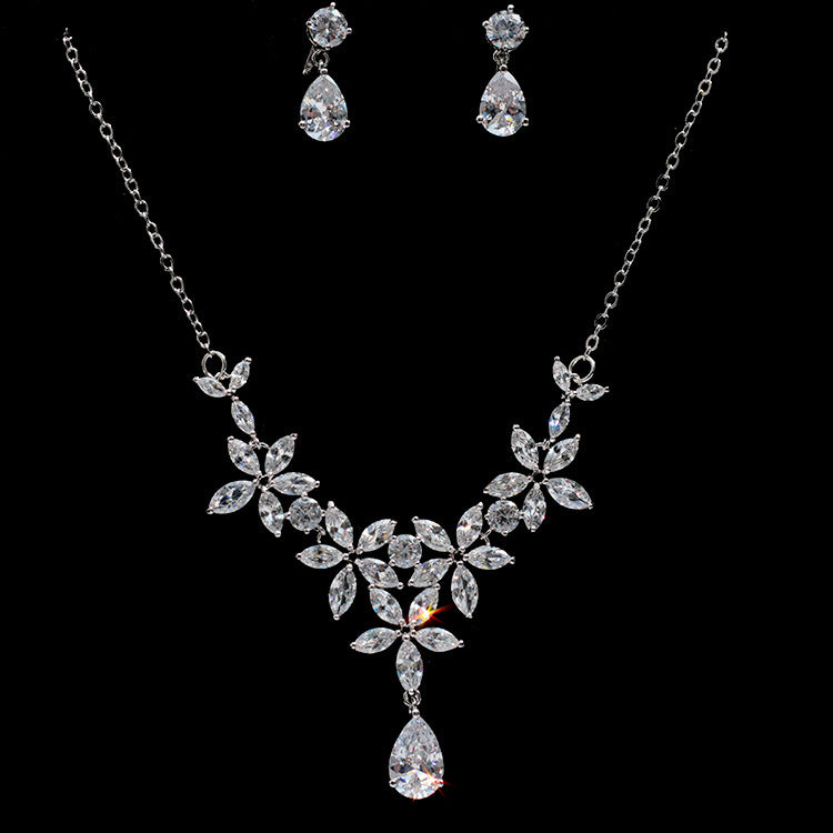 AAA CZ Cubic Zirconia Floral Earrings and Necklace Bridal Set