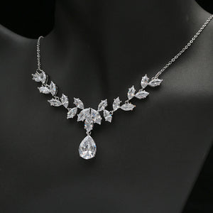 AAA CZ Cubic Zirconia Earrings and Necklace Bridal Set