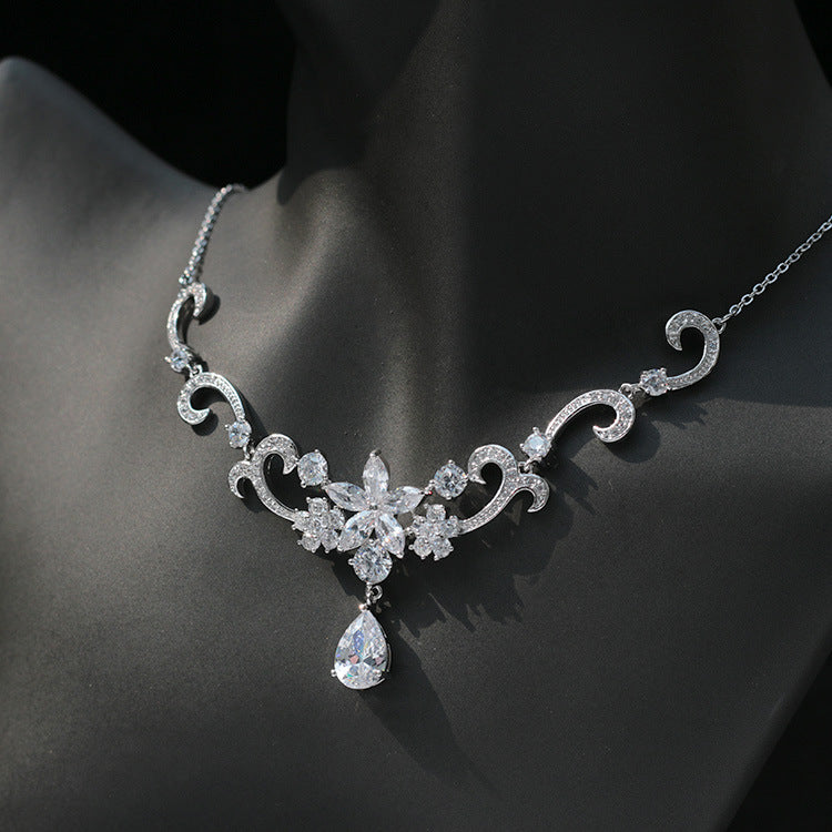 Floral AAA CZ Cubic Zirconia Earrings and Necklace Bridal Set
