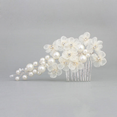 Flowers and Pearls Delicate Bridal Hair Comb