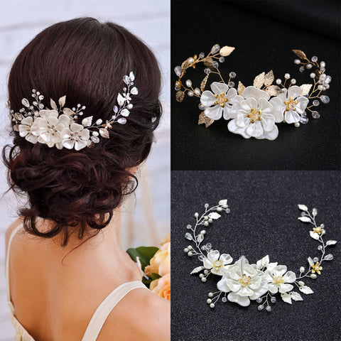 Silver and Yellow Gold Pearl Flowers and Crystal Bridal Vine