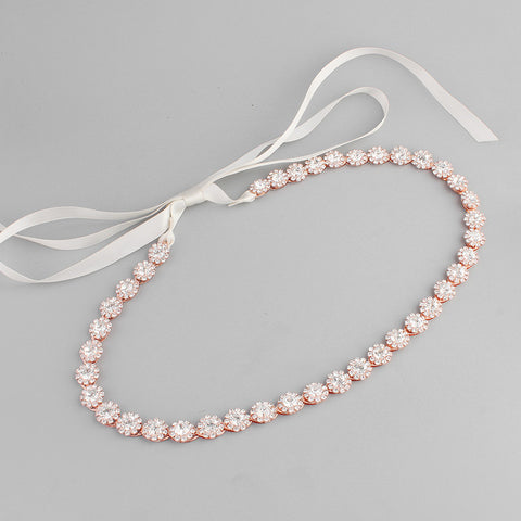 Beautiful Rose Gold Rhinestone Bridal Headband / Sash