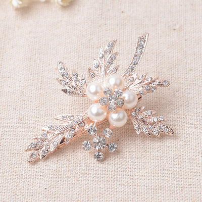 Floral Rhinestone and Pearl Bridal Rose Gold Hair Clip