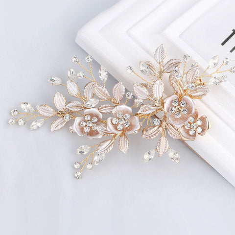 Yellow Gold Bridal Rhinestone Ivory Flower Hair Clip