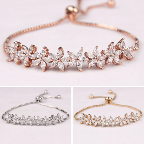 DONNA - AAA Cubic Zirconia CZ Adjustable Flower Bracelet