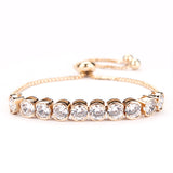 High Quality Round Cut Cubic Zirconia CZ Adjustable Bracelet