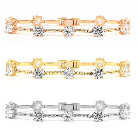 High Quality Round Cut Cubic Zirconia CZ Tennis Bracelet