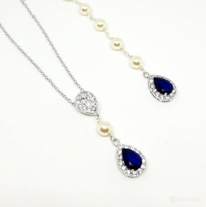 "JESS - ""Something Blue"" AAA Cubic Zirconia Water Drop Bridal Gold Necklace"