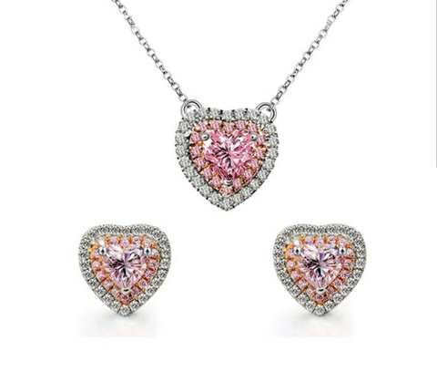 Pink AAAA Cubic Zirconia Heart Shape Necklace and Earrings