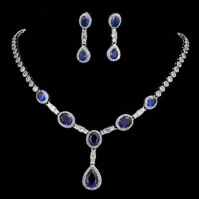 JESS - AAA Cubic Zirconia Luxurious Necklace and Earrings Bridal set