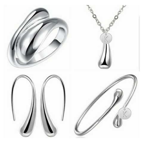 Water Drop Bridesmaids Personalized Jewelry Set in Silver