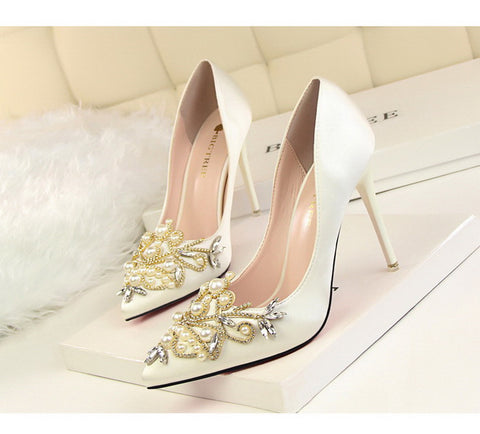 Rhinestone and Pearl Wedding Shoes - 6 different colors