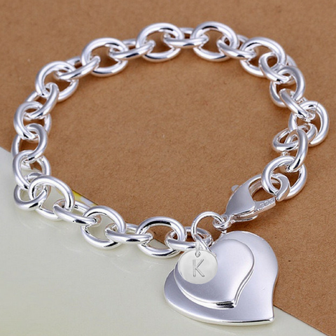 KELLY - Silver Double Heart Personalized Initial Bridesmaid Bracelet