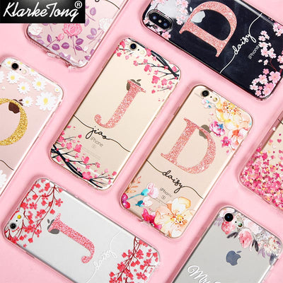 Custom  Cherry Blossom Glitter Flower Phone Case For iPhone XS MAX XR 8 7 6 Plus 5 5s