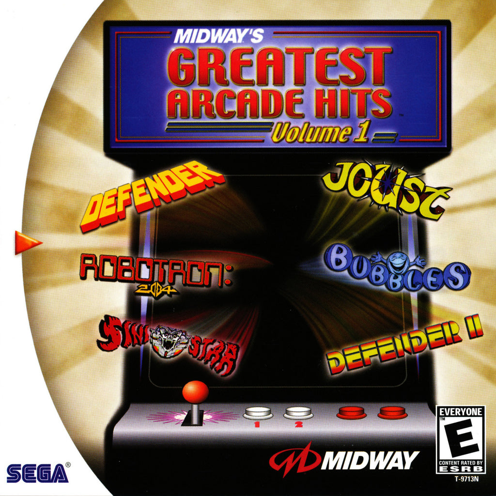 Midway's Greatest Arcade Hits Vol 1 - Sega Dreamcast Game - Complete
