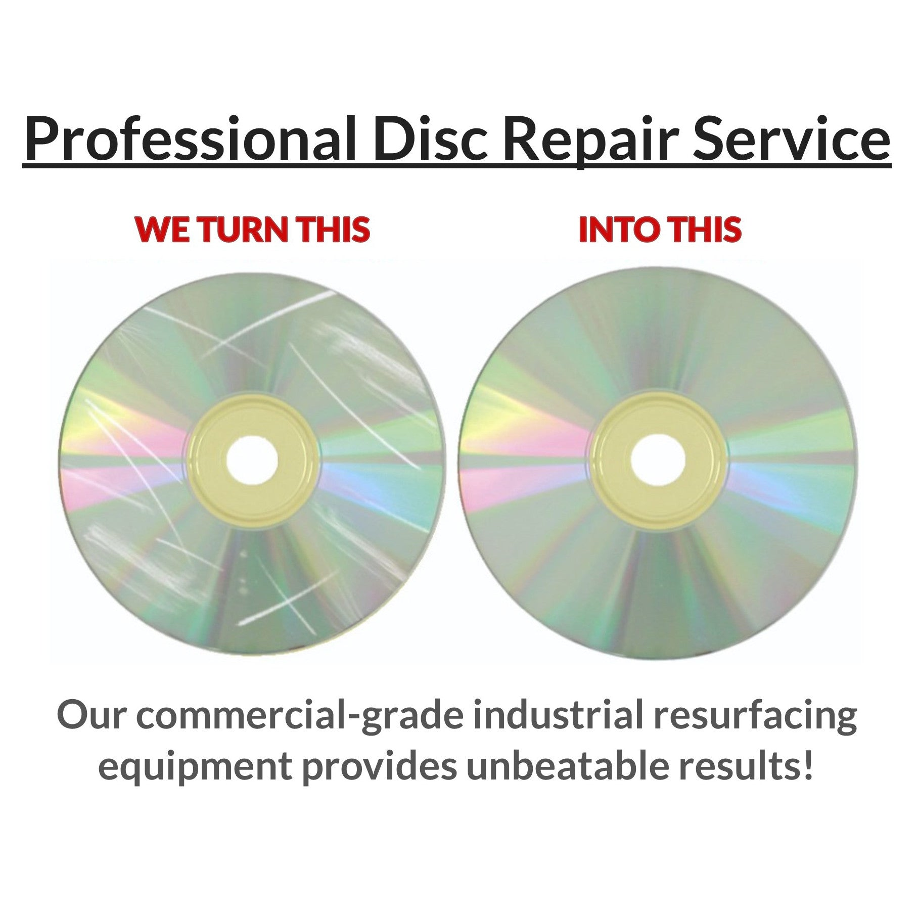 CDs 1000 Blu-rays Mail-In Scratch Removal /& Disc Repair Service DVDs Games