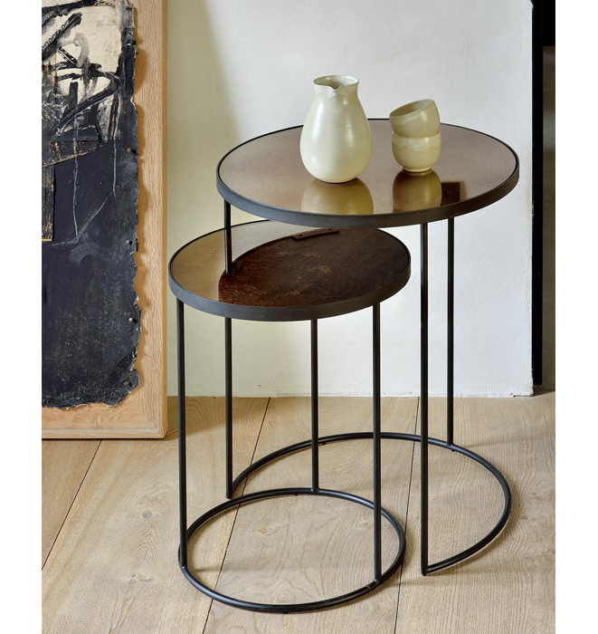 Ethnicraft Bronze Copper Nesting Side Table Set