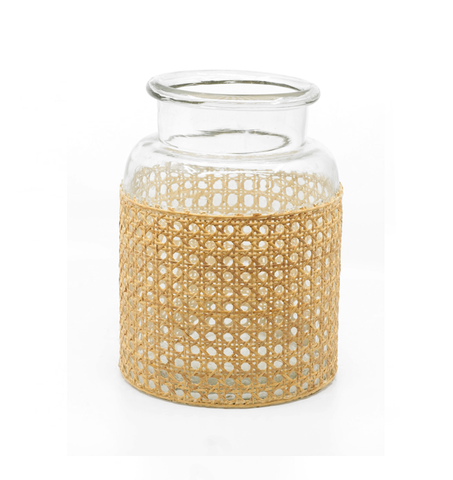 Rattan Wrapped Glass Jar - Medium