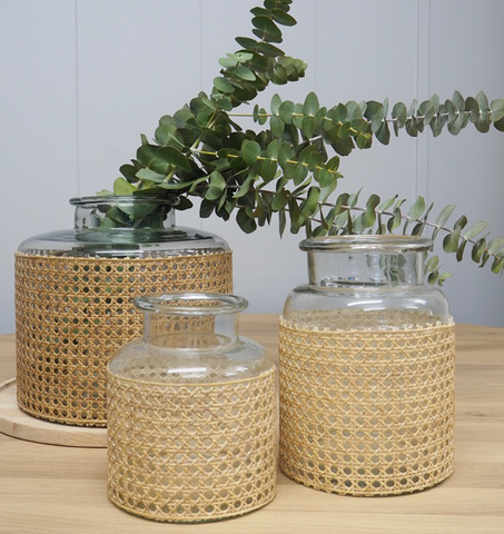 Rattan Wrapped Glass Jar - Large