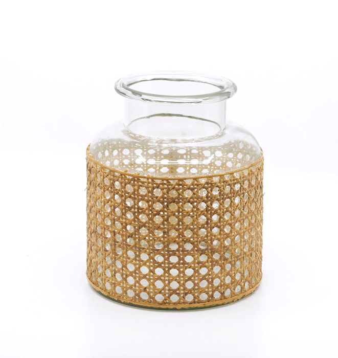 Rattan Wrapped Glass Jar - Small