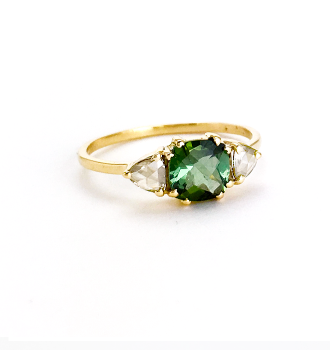 Green Touramline and Diamond Ring