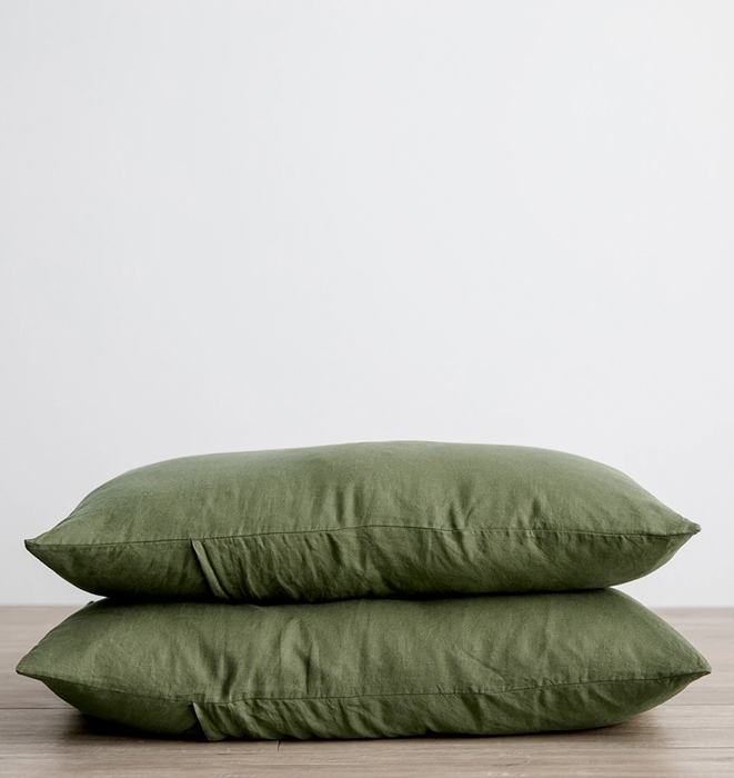 Cultiver Set of 2 Linen Pillowcases - Forest