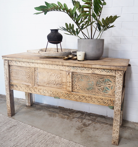 Vintage Carved Console Chest