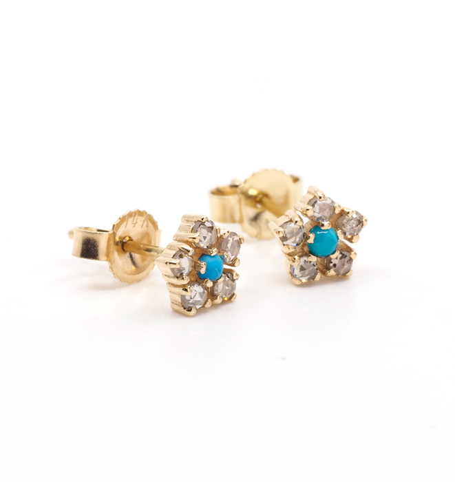 Turquoise and Diamond Flower Gold Earrings
