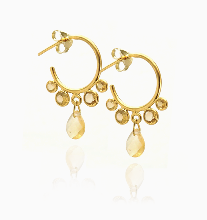 Citrine Drop Hoops