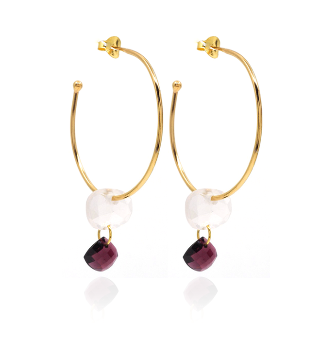 Pebble Drop Hoops - Garnet & Rose Quartz