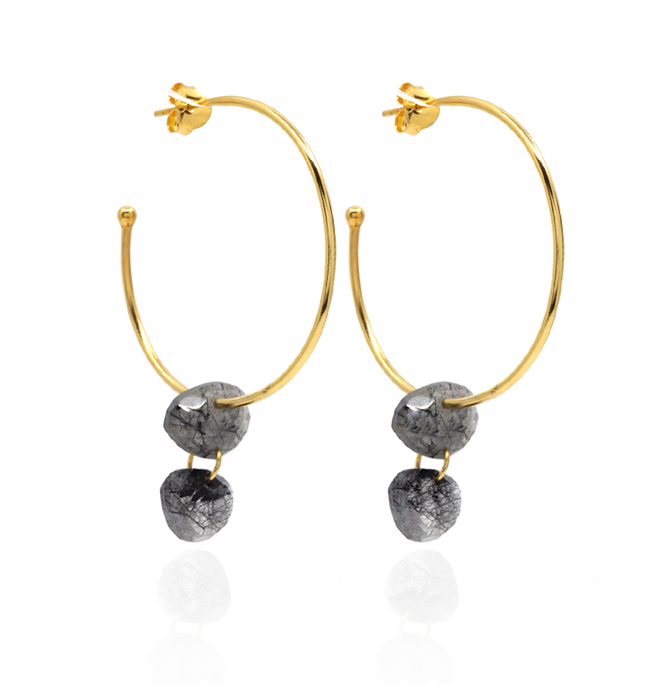 Pebble Drop Hoops - Black Tourmaline Rutile Quartz